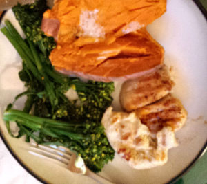 Broccolini, sweet potato and chicken: A healthy plate is mostly plant-based foods.
