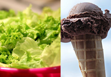 It's mostly what you eat: you can eat a lot of salad or a little ice cream for the same calories.